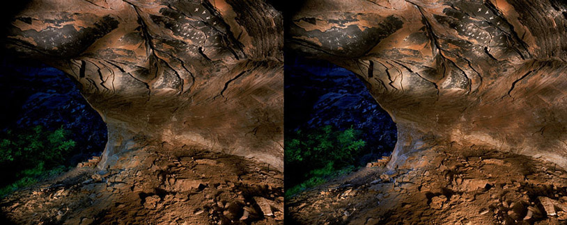 3D light-painted photograph of Planetarium Cave, Canyon del Muerto, Arizona
