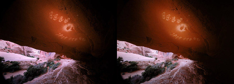 3D light-painted photograph of Shaman's Cave, Canyon de Chelly, Arizona