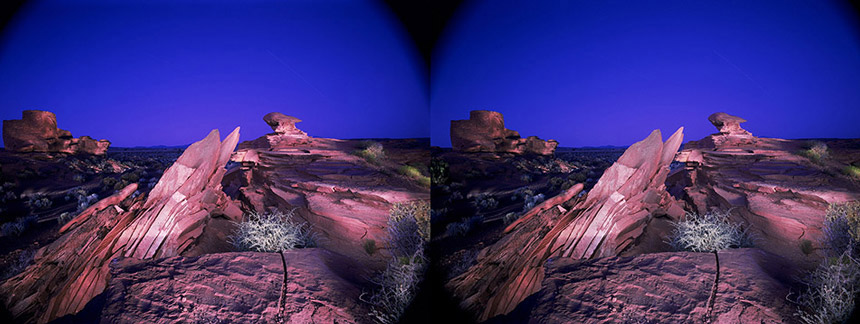 3D light-painted photograph of Wukoki, Wapatki National Monument, Arizona