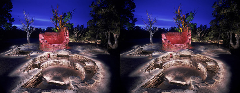 3D light-painted photograph of Cedar Tree Tower and Kiva, Mesa Verde, Colorado