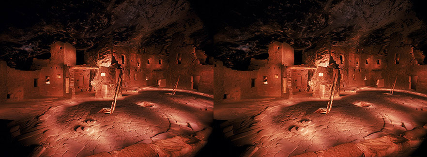 3D light-painted photograph of Spruce Tree House Plaza, Mesa Verde, Colorado