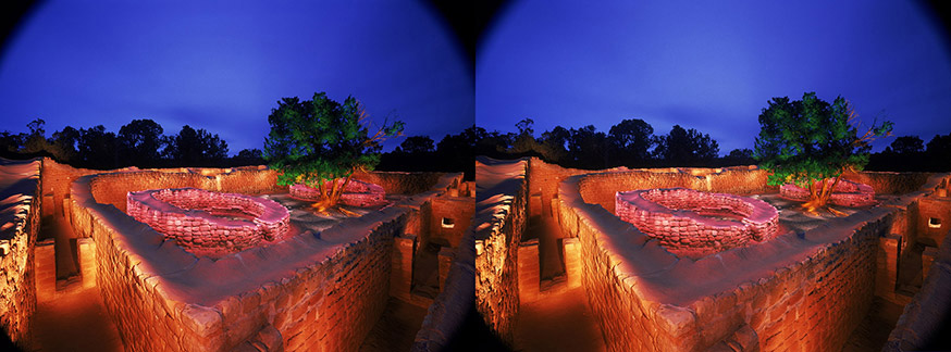 3D light-painted photograph of Sun Temple, Mesa Verde, Colorado