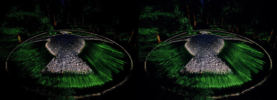 3D light-painted photograph of Rock Eagle Effigy Mound, Georgia