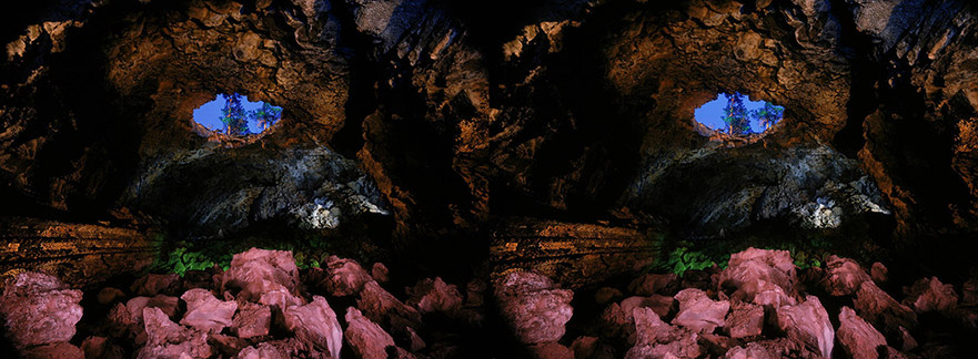 3D light-painted photograph of Big Skylight Cave, El Malpais National Monument, New Mexico