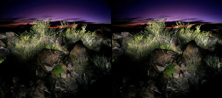 3D light-painted photograph of Bighorn Sheep Petroglyph, Three Rivers. New Mexico