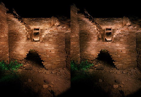 3D light-painted photograph of Wijiji, Chaco Canyon, New Mexico