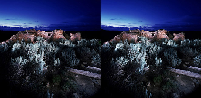 3D light-painted photograph of Hooded Fireplace Pueblito, Gobernador Canyon, New Mexico