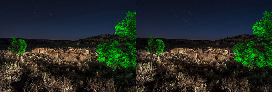3D light-painted photograph of Haynes Trading Post, Largo Canyon, New Mexico
