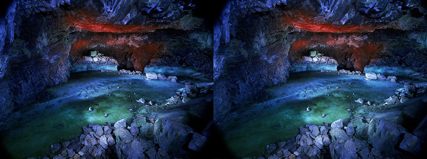 3D light-painted photograph of Candelaria Ice Cave, Bandera Volcano Lava Flow, New Mexico