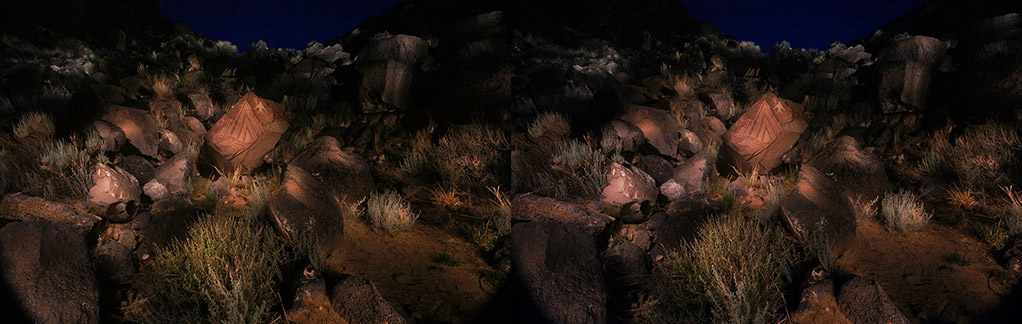 3D light-painted photograph of the Volcanos Petroglyph, Rinconada Canyon. Petroglyph National Monument, New Mexico