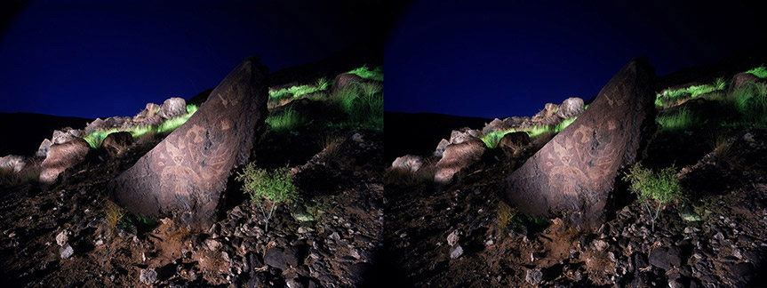 3D light-painted photograph of Shamanic Petroglyphs, Rinconada Canyon, Petroglyphs, National Monument, New Mexico