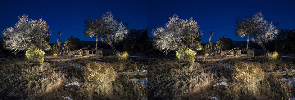3D light-painted photograph of Shuman Homestead-1, El Malpais, New Mexico