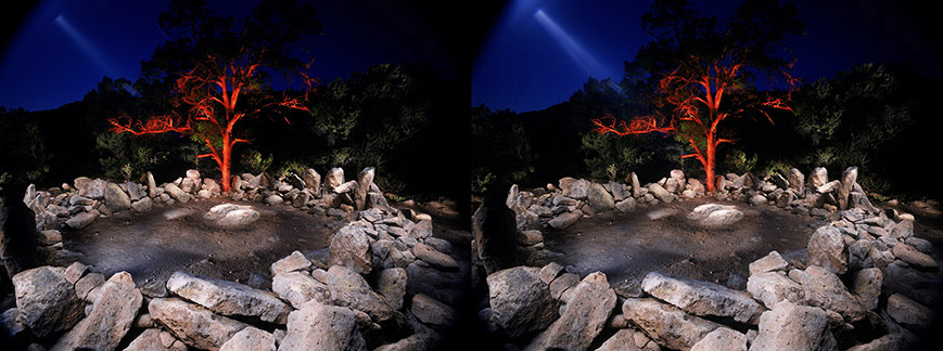 3D light-painted photograph of Shrine of the Stone Lions-2, Bandelier National Monument, New Mexico