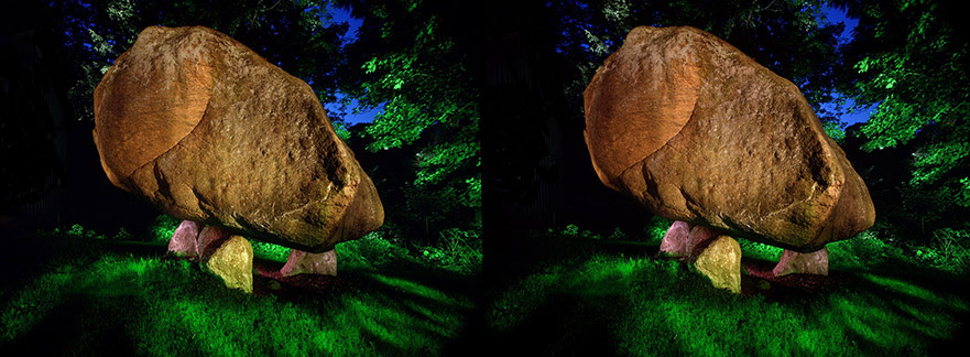 3D light-painted photograph of a pre-historic Dolmen, New York