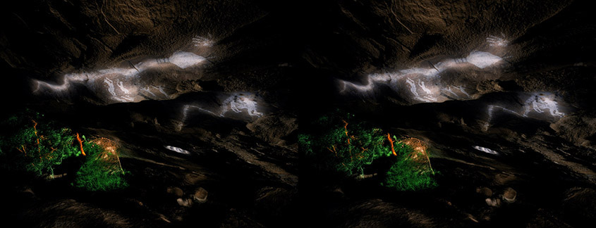 3D light-painted photograph of Fertility Cave Pictographs, Hueco Tanks, Texas