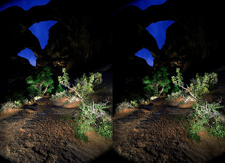 3D light-painted photograph of Triple Arch, Arches National Monument, Utah