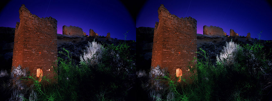 3D light-painted photograph of Square Tower, Hovenweep, Utah