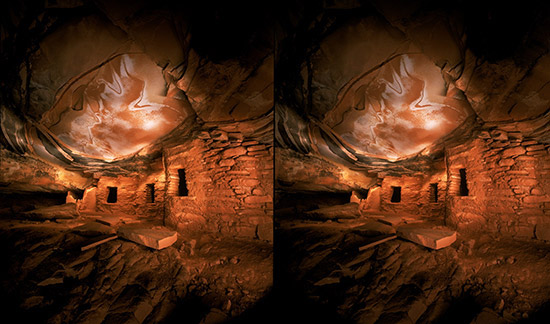 3D light-painted photograph of Painted Ceiling Ruin, Cedar Mesa, Utah