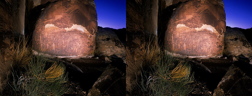 3D light-painted photograph of the Rochester Petroglyph Panel, Utah