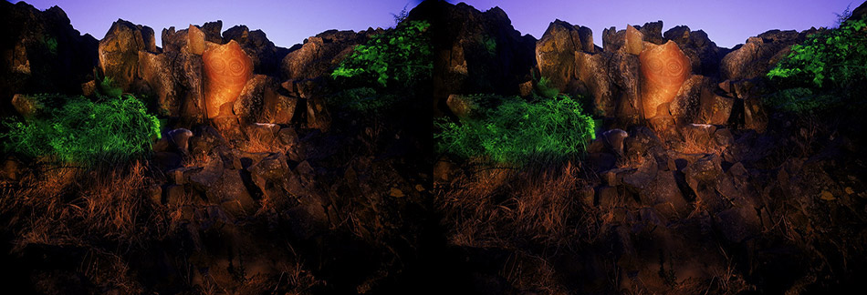 3D light-painted photograph of Tsagaglalal, Columbia River Gorge, california
