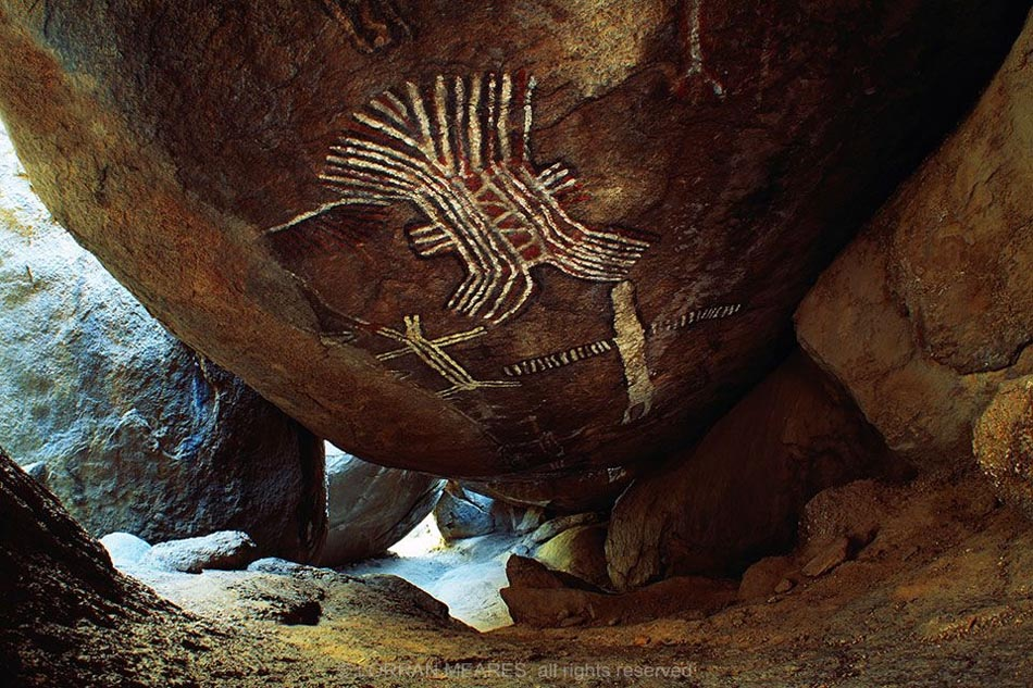 Crane Man Pictograph, Eagle cave, california