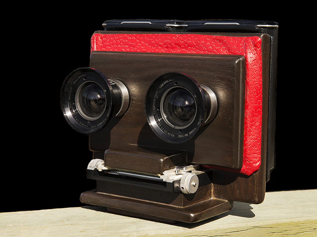 Hand-Built Wooden Stereo Polaroid Camera