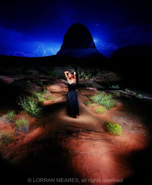 Light-painted dreamscape portrait